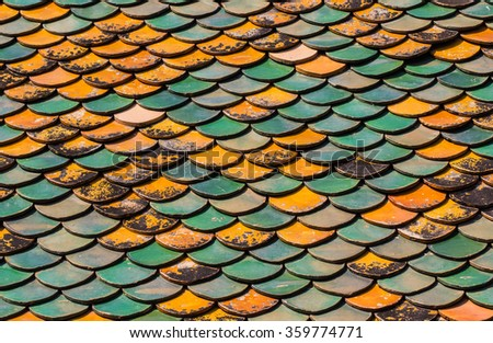 Old Roof tiles of Thai temple #359774771