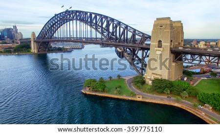 Sydney Harbour Bridge aerial view. Royalty-Free Stock Photo #359775110