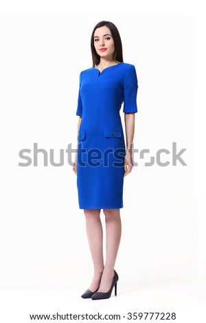 indian asian eastern brunette business executive woman with straight hair style in blue official short sleeve dress high heels shoes full length body portrait standing isolated on white #359777228