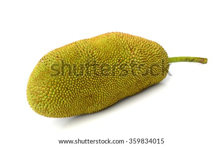 cut Jackfruit isolated, Artocarpus heterophyllus Lam. #359834015