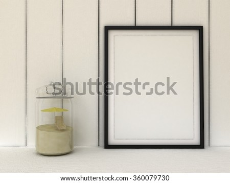 Empty picture in frame shabby chic, vintage style. Scandinavian style home interior decoration. Mason jar with umbrella and the lounge in the closed glass pot. Copy paste image. #360079730
