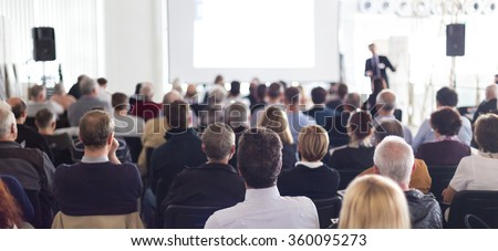 Audience in the lecture hall. Royalty-Free Stock Photo #360095273