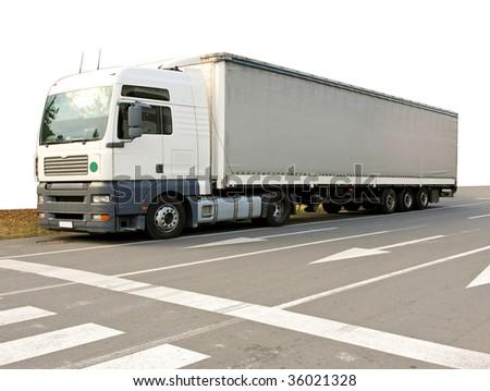 Big and long semi truck at street #36021328