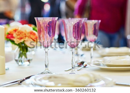 Elegant table set for an event party or wedding reception #360260132