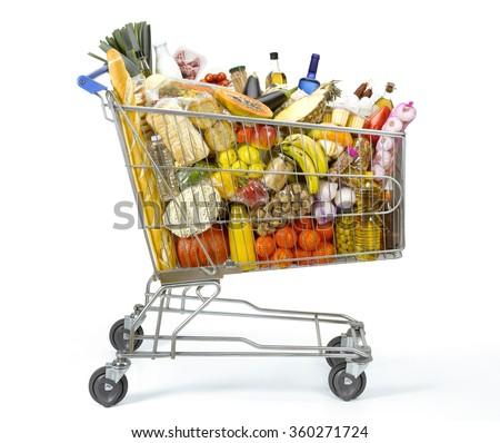 Shopping cart full of food Royalty-Free Stock Photo #360271724