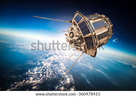 Space satellite orbiting the earth. Elements of this image furnished by NASA. #360478415