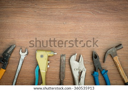 different old tools on wood #360535913