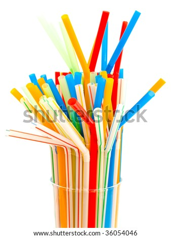 many multicolored tubules in glass against the white background #36054046