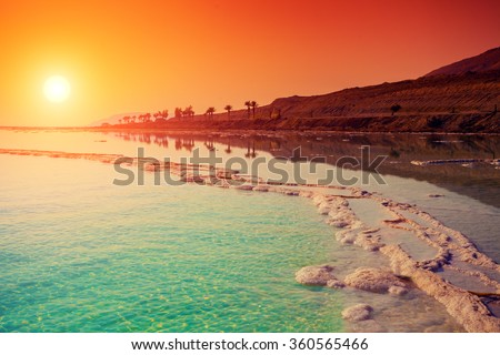 Sunrise over Dead Sea.  Royalty-Free Stock Photo #360565466