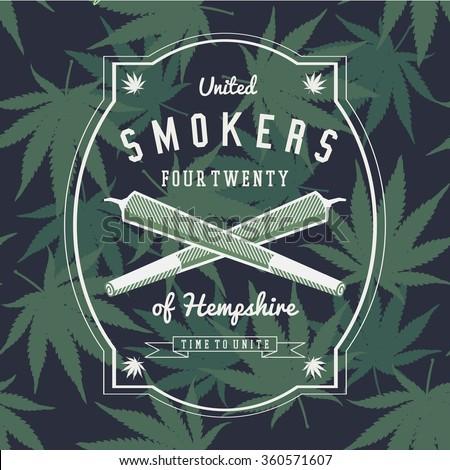 Marijuana Weed Ganja Smoker Vector Background Print Poster