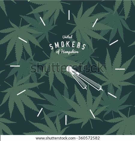 Marijuana Ganja Weed Pot Clock 420 Vector Background Print Poster