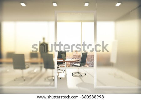 Meeting room with frosted glass walls 3D Render Royalty-Free Stock Photo #360588998