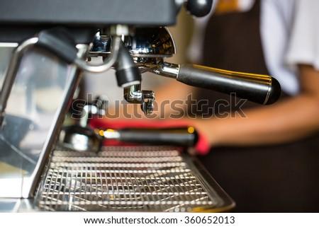 Coffee machine during process Esspresso coffee shot. #360652013