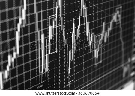 black and white stock chart on lcd monitor