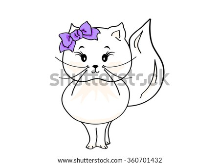 Cute little cat on a white background