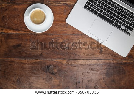 office desk , coffee and laptop