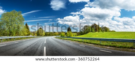 Road panorama on sunny spring day #360752264