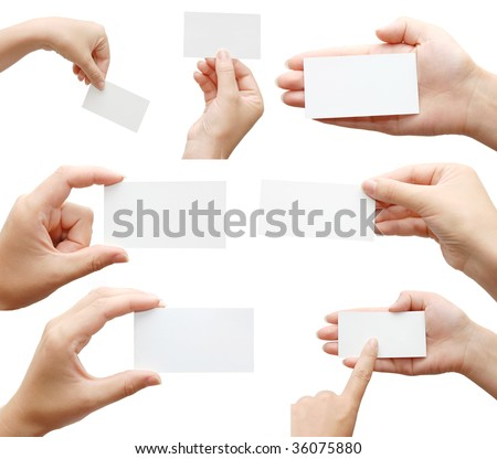 Set of hand holding an empty business card over white