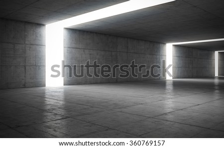 Abstract concrete geometric background with light. 3D render #360769157