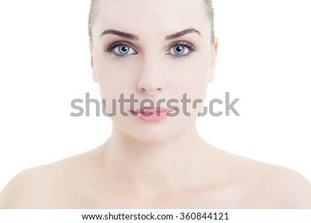 Face and shoulders of a perfect skin woman as natural cosmetics concept on white background #360844121