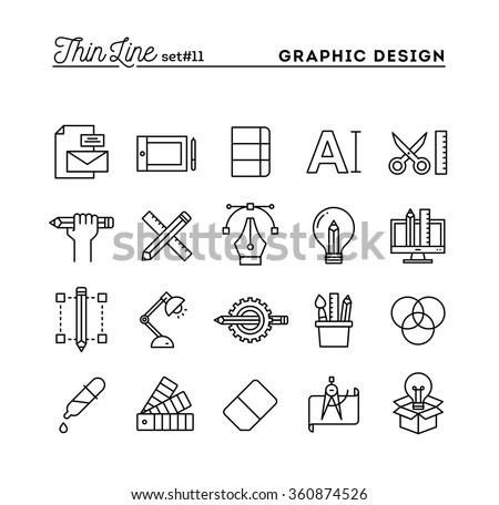 Graphic design, creative package, stationary, software and more, thin line icons set, vector illustration Royalty-Free Stock Photo #360874526