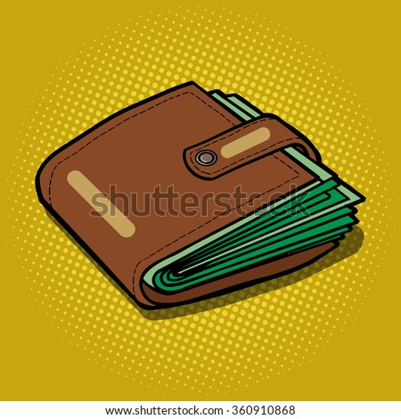 Full wallet with money pop art style raster illustration. Comic book style imitation
