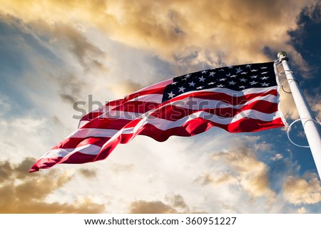 american flag in the sky Royalty-Free Stock Photo #360951227