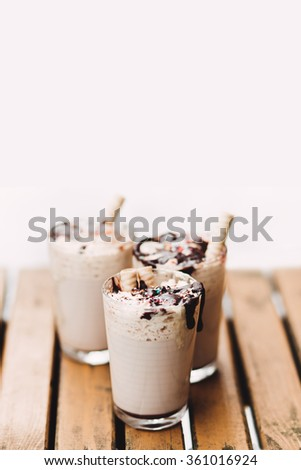 Cacao with whipped cream and chocolate, copy space #361016924