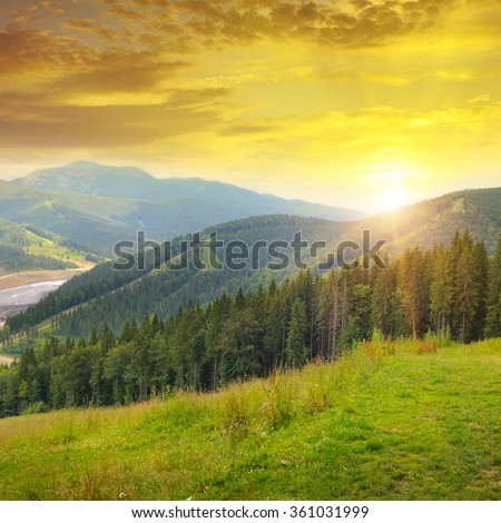 beautiful mountain landscape and sunrise #361031999