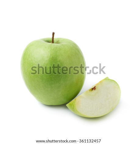 Green apple next to a slice isolated #361132457