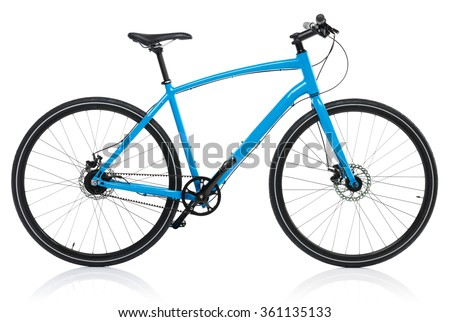 New blue bicycle isolated on a white background Royalty-Free Stock Photo #361135133