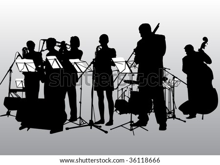 drawing music jazz orchestra. People with musical instruments #36118666