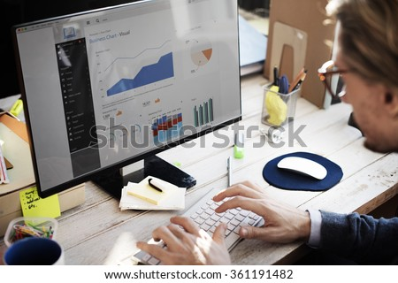 Businessman Working Dashboard Strategy Research Concept Royalty-Free Stock Photo #361191482