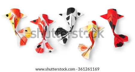 handmade paper craft origami koi carp fish on white background. #361261169