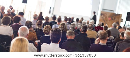 Audience in the lecture hall. Royalty-Free Stock Photo #361337033