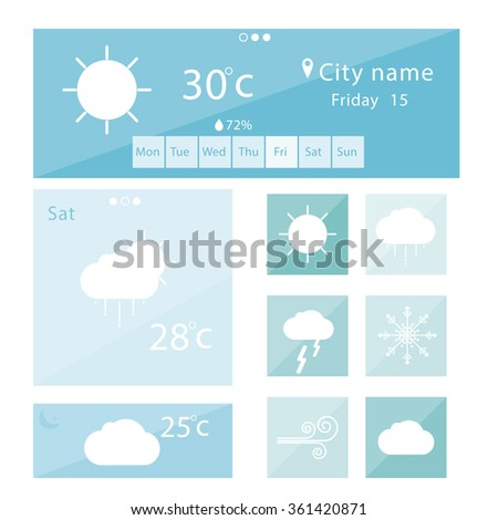 Weather icons mobile Application. Vector #361420871