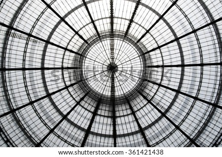 Double exposure photo of transparent circular glass ceiling / roof at two different zooms. Realistic but not real architectural image with doubled number of circles compared to the real object. #361421438