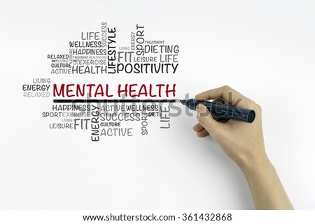 Hand with marker writing Mental health word cloud Royalty-Free Stock Photo #361432868