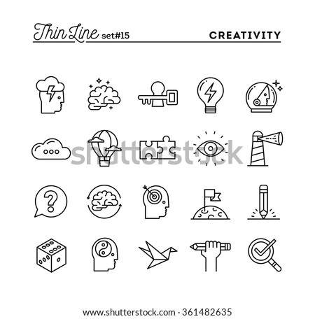 Creativity, imagination, problem solving, mind power and more, thin line icons set, vector illustration Royalty-Free Stock Photo #361482635