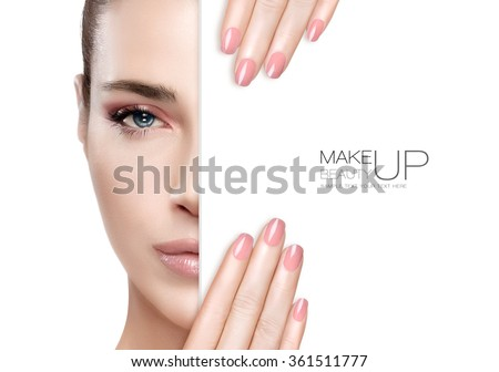 Beauty Makeup and Nai Art Concept. Beautiful fashion model woman with soft makeup, perfect skin and trendy pink nails, half face with a white card template. High fashion portrait isolated on white