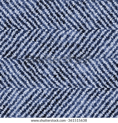 Abstract indigo dyed noisy stroke herringbone seamless pattern. #361515638