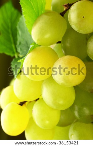 Bunch of white grape and green leaf close-up. #36153421