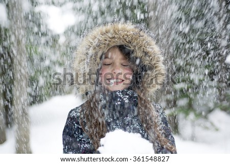 Girl in winter clothes. Happy child outside photo