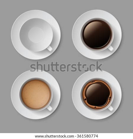 Vector Set of White Coffee Cup Mug with Crema Foam Bubbles Top View Isolated On Background #361580774