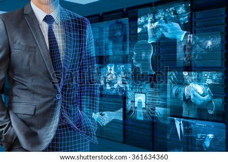 businessman transforming to 3d wire frame with server room background #361634360