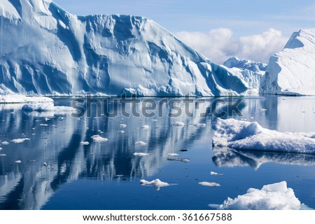 Nature and landscapes of Greenland. Travel on the scientific vessel among ices. Studying of a phenomenon of global warming. Ices and icebergs of unusual forms and colors. Royalty-Free Stock Photo #361667588