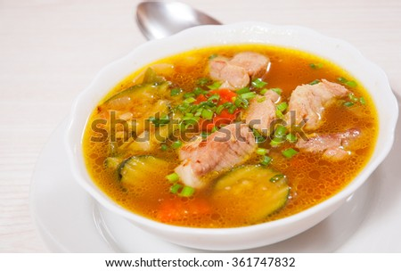 Meat soup with vegetables #361747832