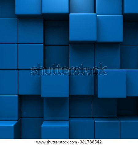 Blue Blocks Wall Geometric background. 3d Render Illustration #361788542