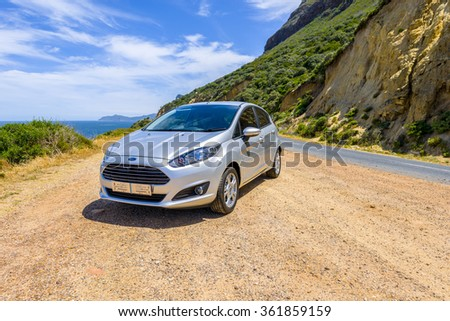 TABLE MOUNTAIN PASS, SOUTH AFRICA - DECEMBER 6 2015: FORD FIESTA 2015 model on mountain pass #361859159