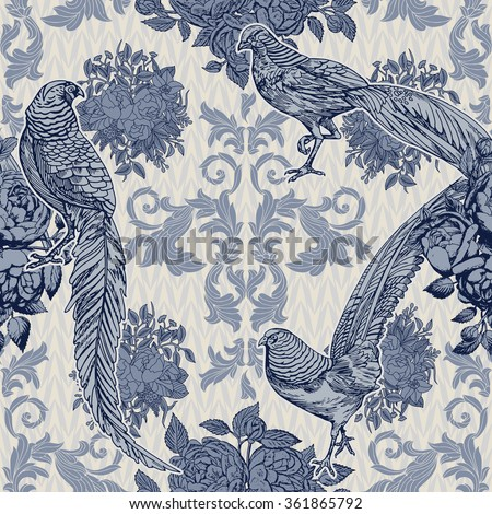 Vintage, antique style background, fashion seamless pattern with birds, pheasants on blue ornamental wallpaper, creative fabric, wrapping paper with floral ornaments, summer, spring theme for design